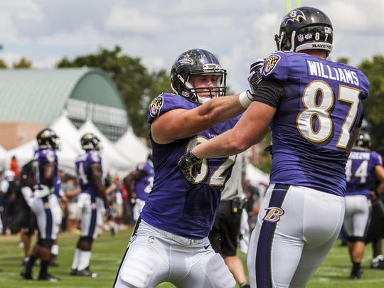 Baltimore Ravens tight end Nick Boyle (No. 82) works against teammate Maxx Williams (No. 87) during a joint practice with the Philadelphia Eagles in Philadelphia on Thursday afternoon.
