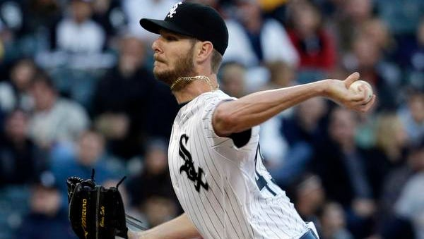 Chicago White Sox  starter Chris Sale throws against the Yankees during the first inning of a baseball game in Chicago on Thursday, May 22, 2014.