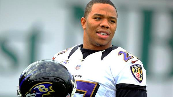 Baltimore Ravens running back Ray Rice warms up during the NFL's Super Bowl XLVII football practice in New Orleans, Louisiana, in this file photo taken January 30, 2013.  Rice, who has been suspended by the National Football League without pay for the first two games of the 2014 season for hitting his wife, apologized to her on Thursday and vowed to speak out against domestic violence.
