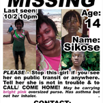 Sikose Joseph, 14, is missing from Glassboro, but could be trying to reach the New Brunswick-Newark area.