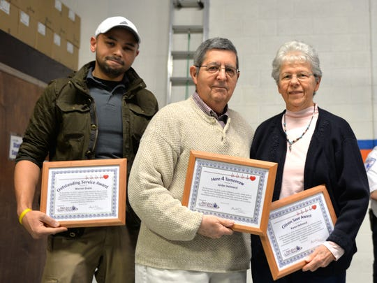 First Aid and Safety Patrol of Lebanon honored several people Feb.  22, 2016, at its Here4Tomorrow program at its main headquarters at 254 S. 11th St., Lebanon. Lebanon County EMA Dispatcher Warren Evans, from left, the Rev. Lester Helmeczi and his wife, Karen, hold the awards received . On Nov 13, 2015,  the Rev. Helmeczi suffered a cardiac arrest and dispatcher Evans provided pre-arrival cardiac resuscitation instructions by phone to Helmeczi's wife. Helmeczi was discharged six days later from the WellSpan Good Samaritan Hospital following a cardiac catherization. The program is an opportunity for FASP to recognize the 911 telecommunicators and the bystanders who provided pre-arrival CPR to individuals who have suffered a cardiac arrest.