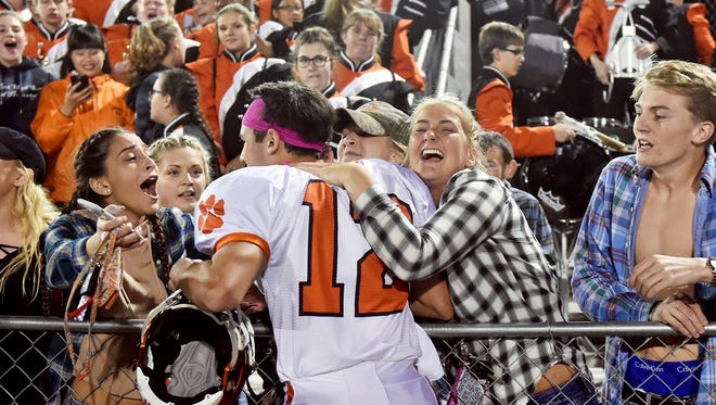 Central York students greet Mark Santos after the Panthers won a YAIAA football game Friday, Oct. 20, 2017, at Red Lion. Central York won 24-21, delivering Red Lion their first defeat of the season.