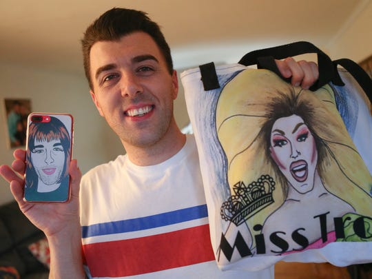 Troy Hendrickson with images of two of his personalities, Aunt Mary Pat DiSabatino and Miss Troy.