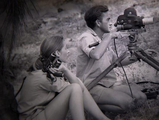 Jane Goodall watches as her husband, Hugo van Lawick,