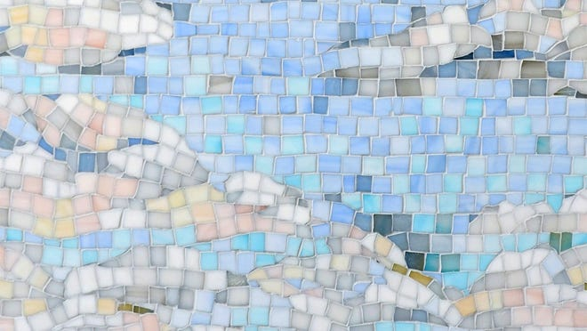 """""""Clouds"""" is a handmade mosaic and is part of the Sea Glass Collection by Sara Baldwin for New Ravenna."""