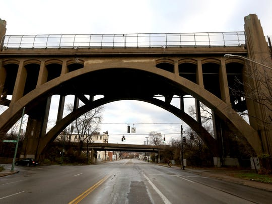A view of the Western Hills Viaduct from Spring Grove