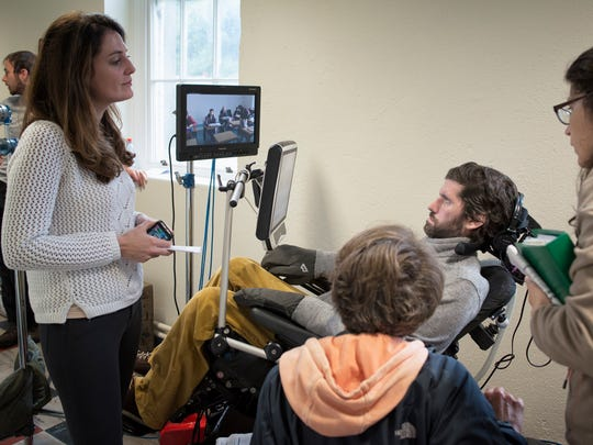 "Director Simon Fitzmaurice, center, on the set of ""My Name is Emily"" with producer Kathryn Kennedy."