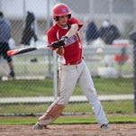 St. Clair's Gehrig Anglin gets a hit during a baseball game Wednesday, April 20, 2016 at Marysville High School.