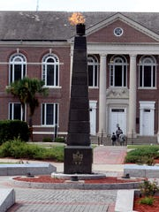 The FAMU Eternal Flame burns in the center of campus.
