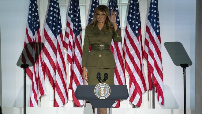 First lady Melania Trump arrives to speak to the 2020 Republican National Convention from the Rose Garden of the White House, Tuesday, Aug. 25, 2020, in Washington.