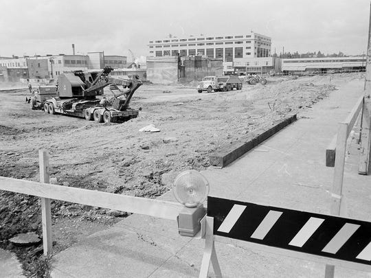"A Bremerton Sun archive photo shows the ""J.C. Penney site"" in May 1968. J.C. Penny was a fixture in downtown Bremerton before the Kitsal Mall opened in Silverdale in the 1980s, sending major retailers north."