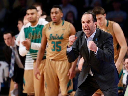 Notre Dame Fighting Irish head coach Mike Brey reacts to a play in the second half against the Georgia Tech Yellow Jackets at McCamish Pavilion. The Yellow Jackets won 63-62.