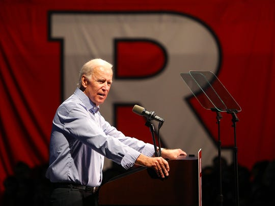 Joe Biden, the 47th vice president of the United States, discussed 'It's On Us,' a national campaign to end sexual assault on college campuses during his visit to Rutgers University. The campaign was launched in 2014 following recommendations from the White House Task Force to Prevent Sexual Assault. October 12, 2017. New Brunswick, New Jersey