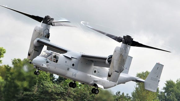 A V-22 Osprey aircraft is shown in this file photo. Aircraft like this one were used Tuesday, Nov. 13, 2018 in military exercises in Reno.