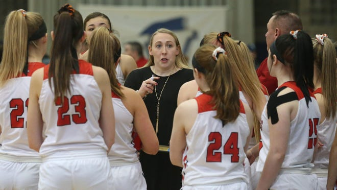 Kristen Kershner coaches the Dansville Girls Varsity basketball team during a game. File Photo.