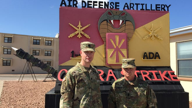 Lt. Col. Glenn Henke, left, and Command Sgt. Maj. John Young are the command team for the 1st Battalion, 43rd Air Defense Artillery Regiment. The unit will deploy to the Middle East in the spring.