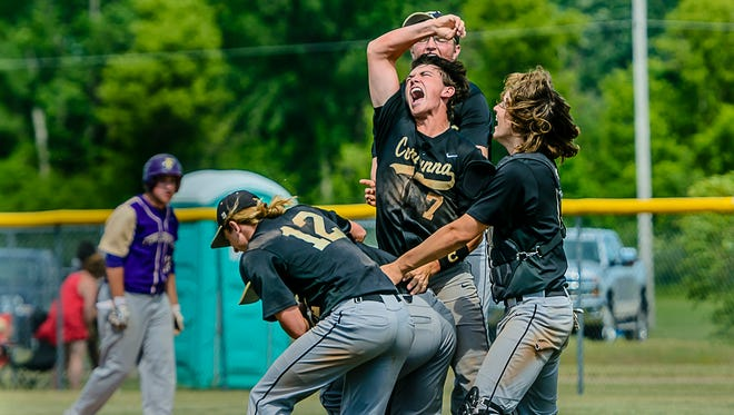 Domanic Smith ,7, celebrates wth some of his Corunna teammates after their Division 2 regional final win over Fowlerville  Saturday, June 10, 2017 in Eaton Rapids.