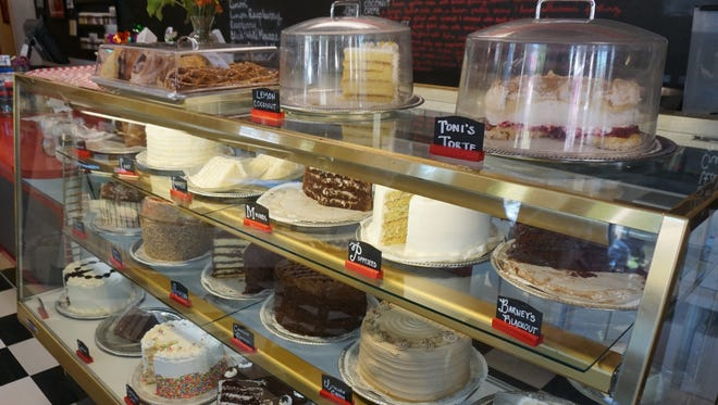 The cake case at Gerry Frank's Konditorei is full of a wide variety on Tuesday, Sept. 12, 2017, including the most popular, Barney's Blackout.