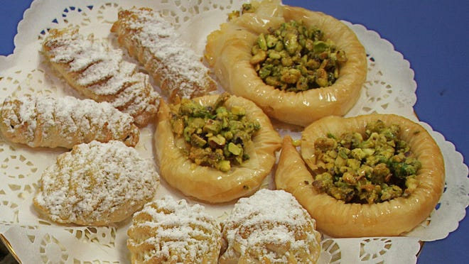 A display of Syrian treats available for the to go bazaar and food fair in November at St. Mary's Antiochian Orthodox Church.