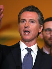 California Gov. Gavin Newsom speaks during a news conference at the California State Capitol on March 13, 2019 in Sacramento. Newsom announced a moratorium on California's death penalty. California has 737 people on death row, the largest death row population in the United States.