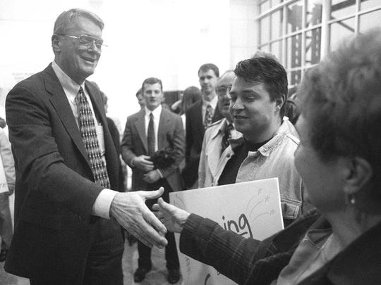 Jim Bunning greeted supporters in March 1997 before