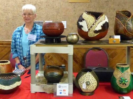 For gentler tastes, several types of art were featured at the show. Doug and Sharon Harrison of S&D Specialties from Pleasanton, Texas, create decorative pieces from gourds.