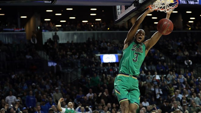 Mar 11, 2017; Brooklyn, NY, USA; Notre Dame Fighting Irish forward V.J. Beachem (3) dunks during the second half against the Duke Blue Devils during the ACC Conference Tournament Final at Barclays Center. Duke Blue Devils won 75-69. Mandatory Credit: Anthony Gruppuso-USA TODAY Sports