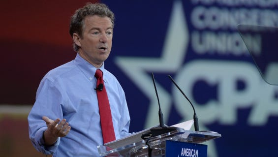 2/27/15 12:29:28 PM -- National Harbor, MD, U.S.A  -- Sen. Rand Paul, R-Ky., speaks at the 2015 Conservative Political Action Conference (CPAC) at the Gaylord National Resort.  Photo by H. Darr Beiser, USA TODAY Staff ORG XMIT:  HB 132665 CPAC 2/26/2015 [Via MerlinFTP Drop]