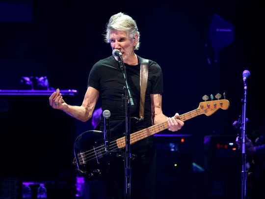 Roger Waters performs onstage during Desert Trip at the Empire Polo Field on Sunday in Indio, Calif.