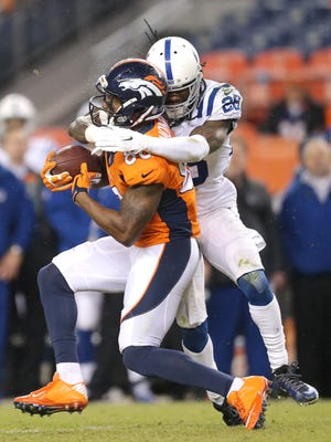 Colts cornerback Greg Toler put a hit on Denver Broncos wide receiver Demaryius Thomas in the second half of Sunday's game.