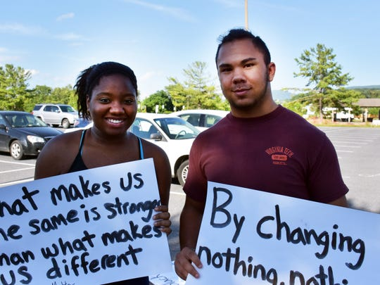 Noah Norman, 17, and Shakia Jackson, 19, of Stuarts Draft, came to the march — compelled to do something. They said interactions with police were on their mind, and the need for a healthy relationship.