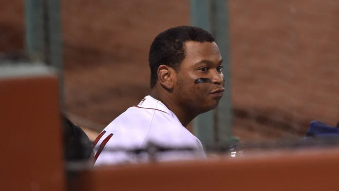 Red Sox third baseman Rafael Devers, who has been receiving treatment on a tender left ankle, was not in Boston's starting lineup Monday night.