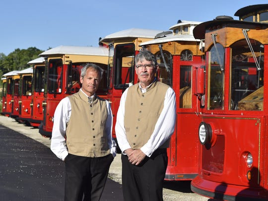 Stephan Reynolds and Ed Shriner-Schmitt are the guides through the seamy side of the peninsula on Door County Trolley's Murder & Mayhem Tour.