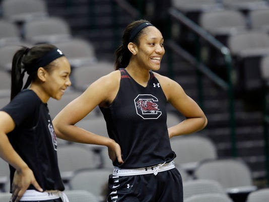 South Carolina guard Allisha Gray, left, and forward A'ja Wilson, right, take part in a practice session for the women's NCAA Final Four college basketball tournament, Thursday, March 30, 2017, in Dallas. South Carolina plays Stanford on Friday. (AP Photo/LM Otero)