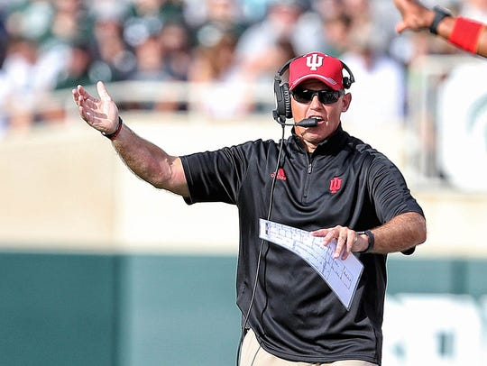 Indiana Hoosiers head coach Tom Allen reacts to a play