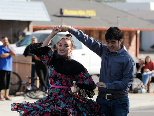 Grupo Folklorico Juventud of North Salinas High School perform for cyclists during the fifth annual Ciclovía Salinas held on Alisal Street, between Main Street and Sanborn Street, on Sunday, October 15, 2017 in Salinas, Calif. Vernon McKnight/for The Californian