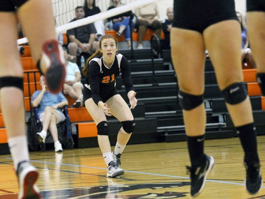 Central York's Emma Saxton watches the ball during the Panthers' 3-0 victory against South Western earlier this month. Saxton has stepped into the starting setter role for the defending YAIAA champions as a junior.