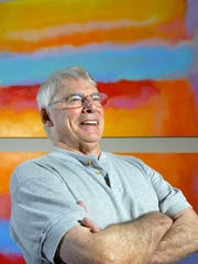 The abstract painter Trevor Bell is shown here during