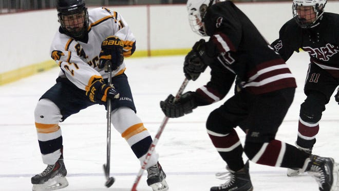 Jefferson's Michael Reilly passes vs. Park Regional's Jim Callahan during their ice hockey matchup at Skylands Ice World. December 12, 2015, Stockholm, NJ.