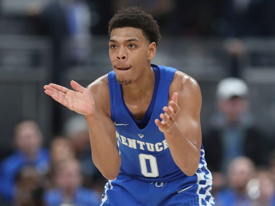 Kentucky's Quade Green claps as he senses his team's