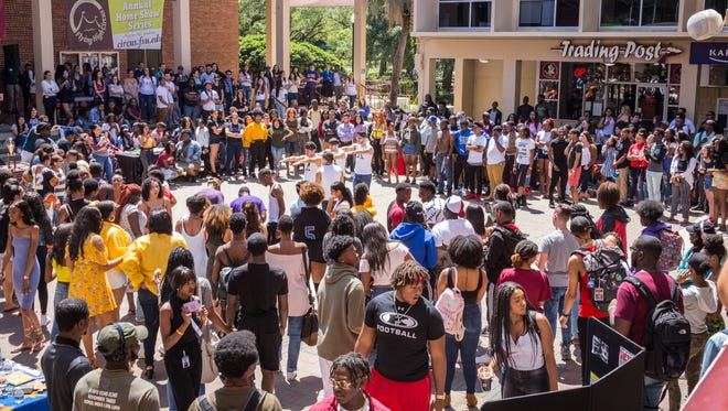 Market Wednesday, a favorite weekly event for FSU students commonly includes a sound hour. This past Wednesday the deejay faciliatated a dance battle between student organizations. Apr. 11, 2018