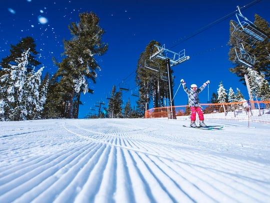 A skier on the slopes at Mt. Rose Ski Tahoe.