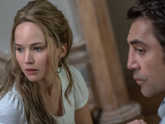 "Jennifer Lawrence and Javier Bardem star in ""Mother!"""