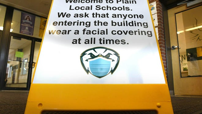 Signage in Plain Local schools provides guidance to mitigate the spread of the COVID-19 virus.