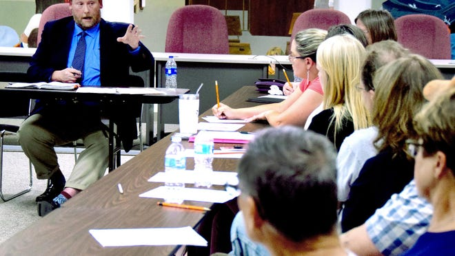 Holcomb USD 363 superintendent Scott Myers holds a public discussion with Finney County residents during a September 2019 meeting in Holcomb. The USD 363 school board decided Friday night to delay the start of the 2020-21 school year to Sept. 2.