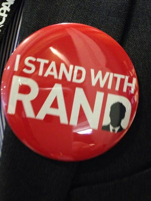 """""""I Stand With Rand"""" campaign button."""