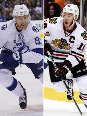 Capitals Steven Stamkos (Lightning) and Jonathan Toews (Blackhawks) will look to lead their teams to the Stanley Cup.