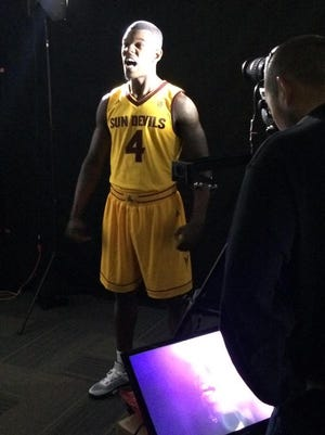 Gerry Blakes helped unveil new gold uniforms.