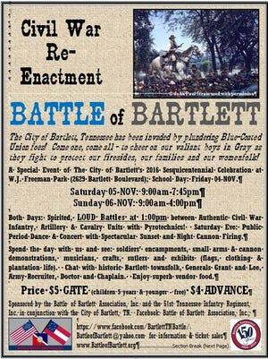 William Weddendorf said he borrowed language from an actual Civil War recruiting poster as he designed this flier for  the Battle of Bartlett re-enactment.