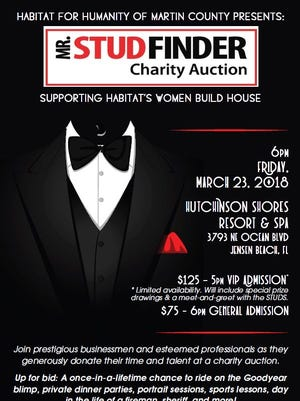 The Habitat for Humanity of Martin County Mr. StudFinder Charity Auction is March 23 at the Hutchinson Shores Resort in Jensen Beach.